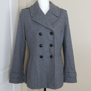 Express wool blend double breasted peacoat | Large
